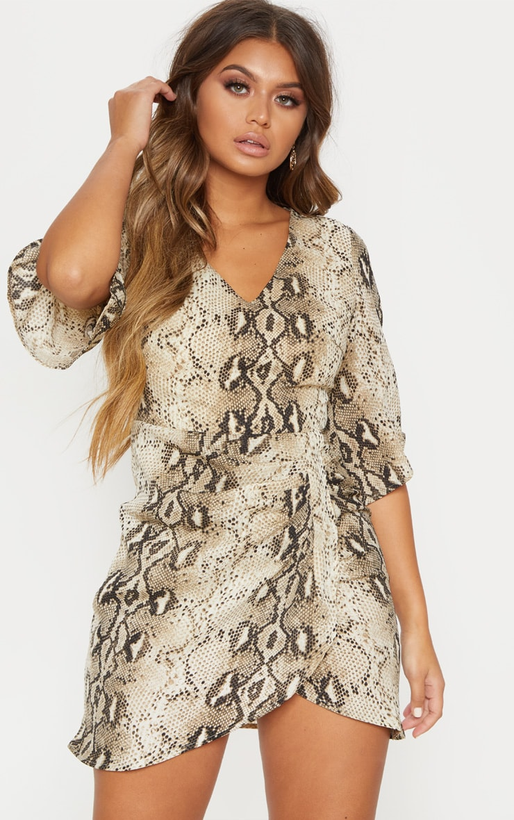 Beige Chiffon Snake Print V Neck Ruched Front Dress