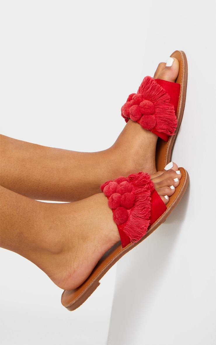 Red Pom Pom Fringe Sandal 2