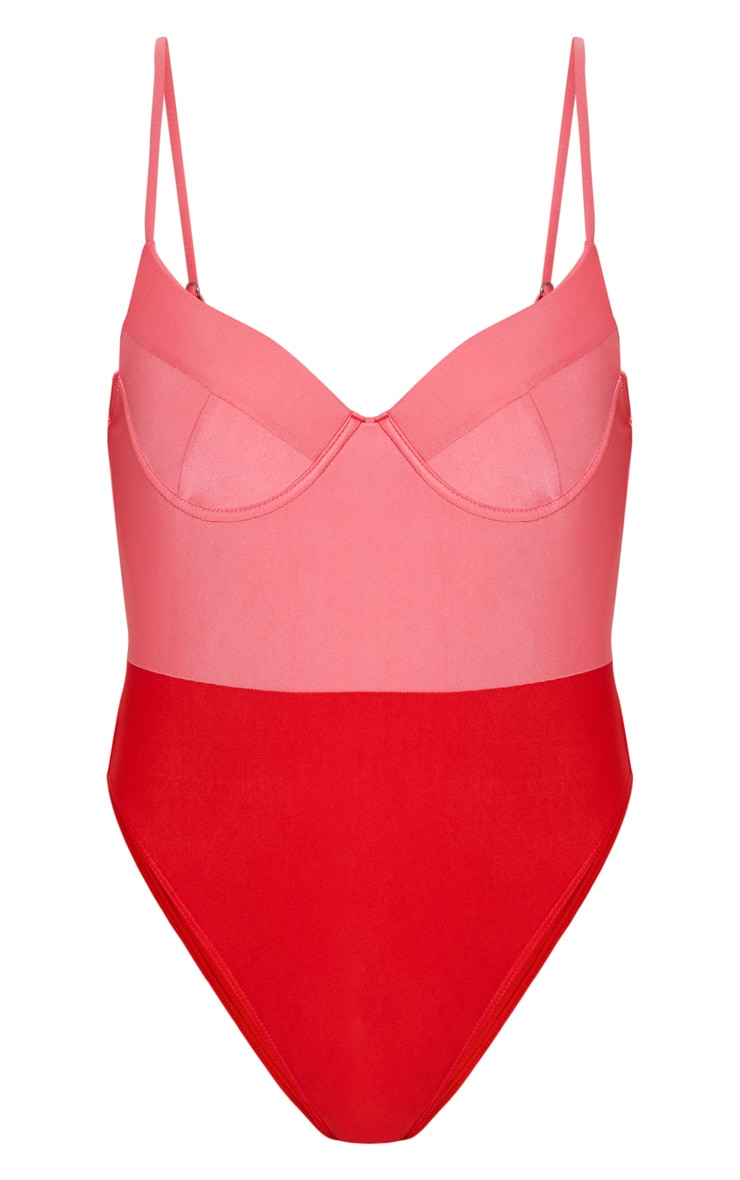 Red Two Tone Cupped Swimsuit 4