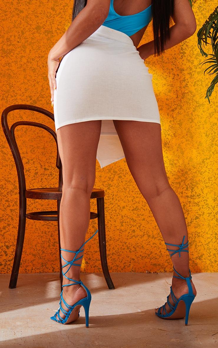 White Pleated Linen Look Mini Skirt 4