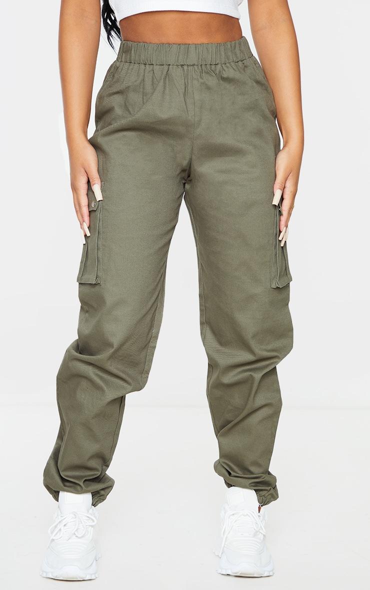 Petite - Pantalon cargo kaki détail poches 2