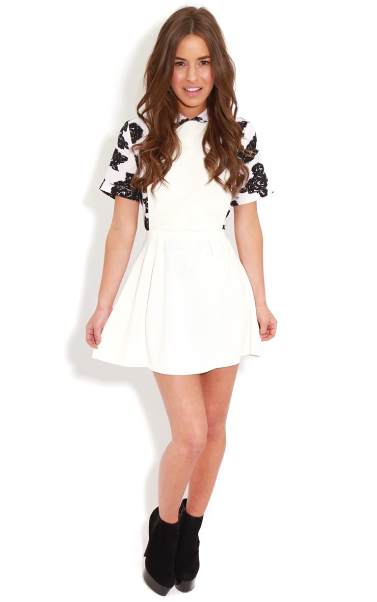 Andrea White Pinafore Skater Dress 3