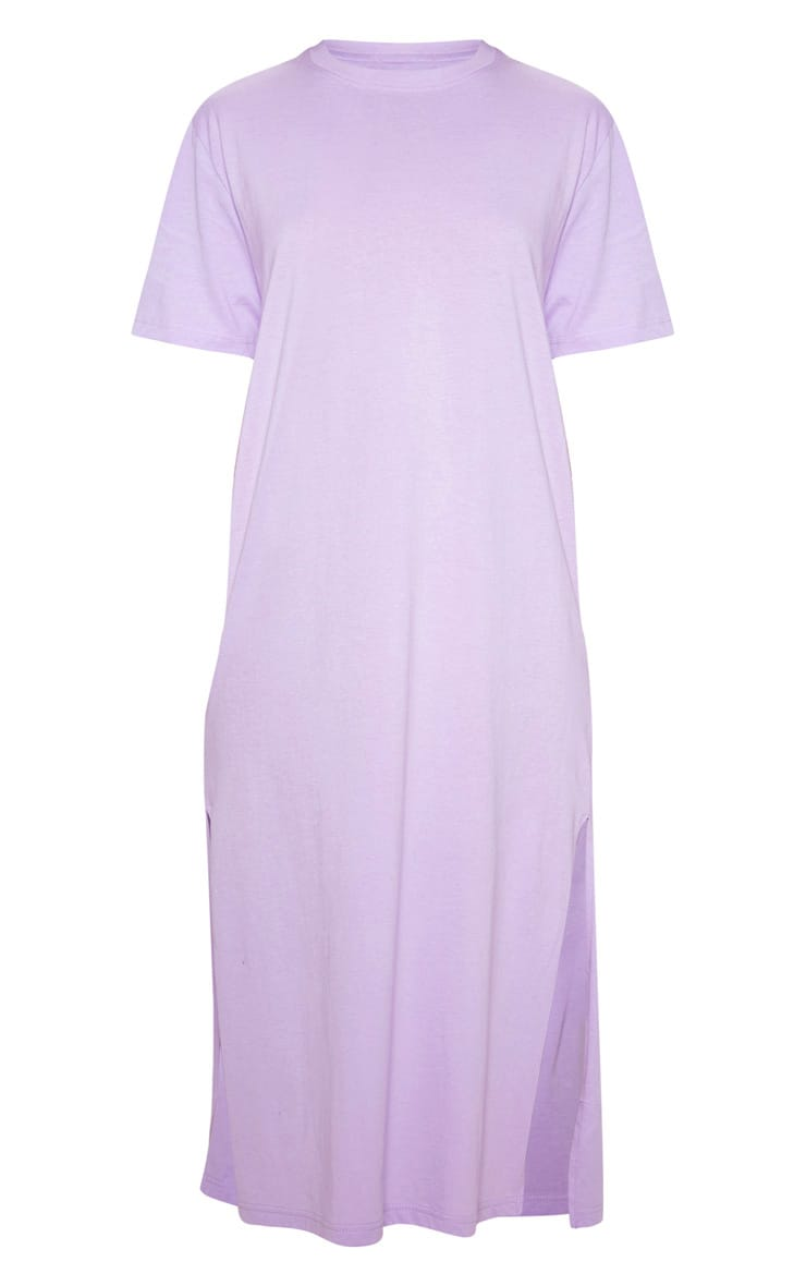 Lilac Split Side Midi T Shirt Dress 3