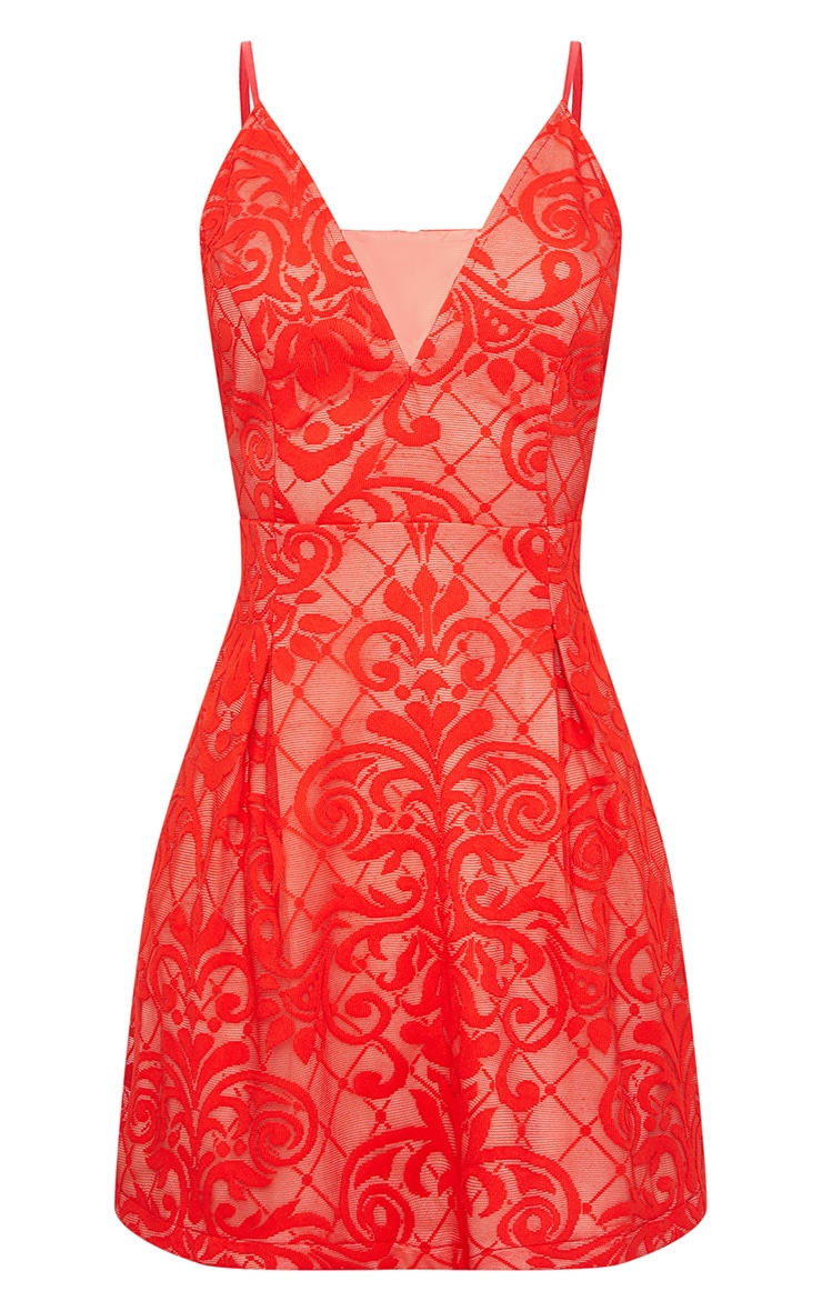 Red Lace Plunge Skater Dress 3