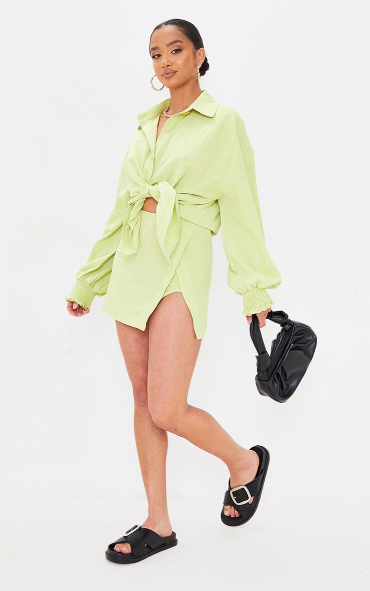 Petite Lime Split Detail Linen Look Mini Skirt 1