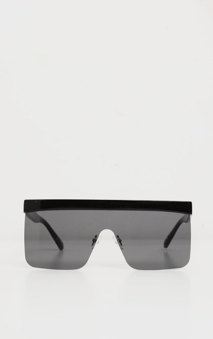 Black Flat Top Brow Bar Frameless Oversized Sunglasses 2