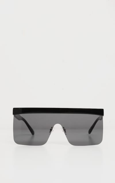 Black Flat Top Brow Bar Frameless Oversized Sunglasses