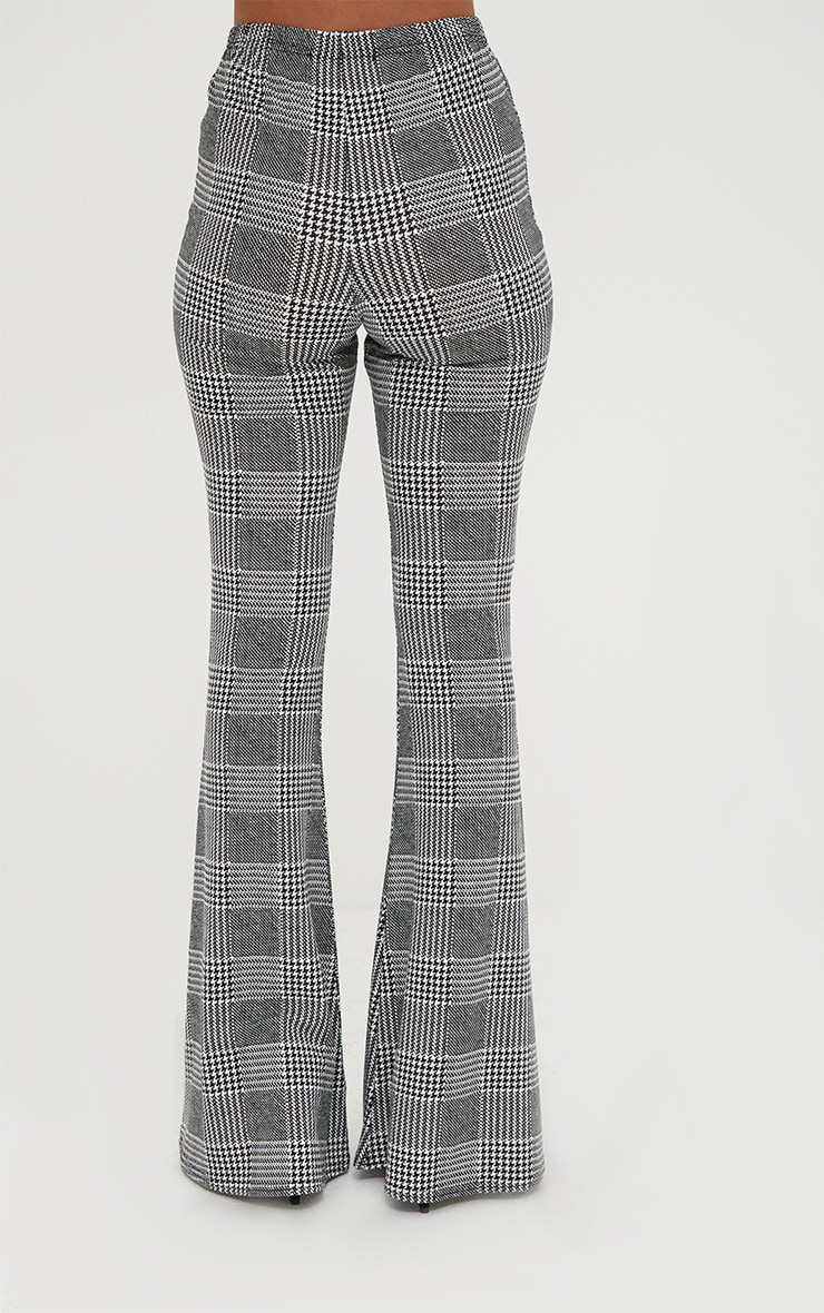 Grey Dogtooth Check Flared Trousers 4