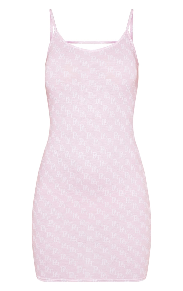 PRETTYLITTLETHING Pastel Pink Printed Bodycon Dress 3