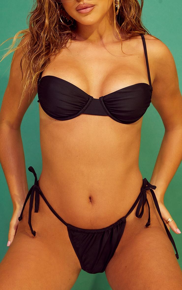 Recycled Mix & Match Black String Thong Bikini Bottoms 1