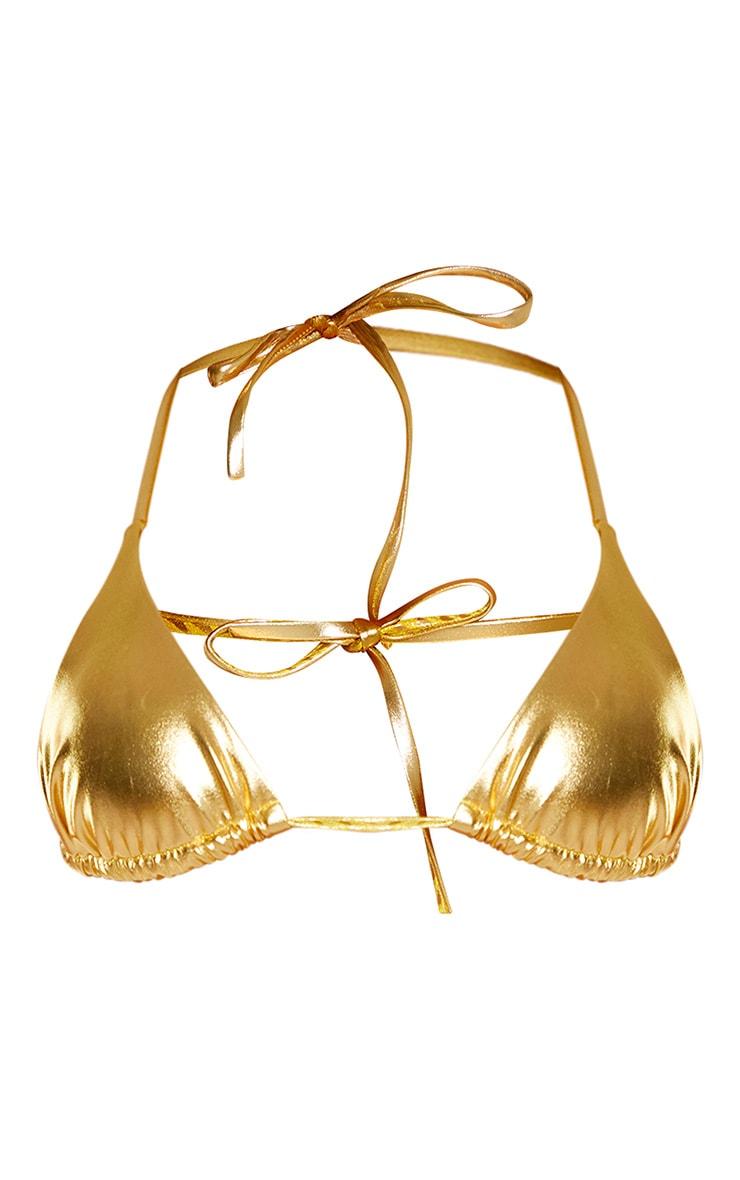 Gold Metallic Bikini Top 3