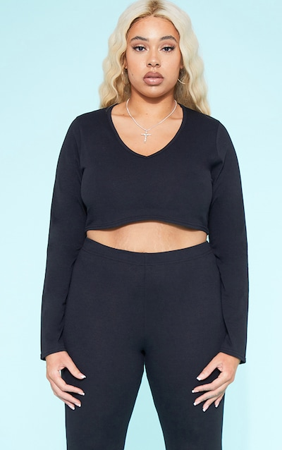 aca8efea4d3a28 RECYCLED Plus Black Plunge Long Sleeve Crop Top