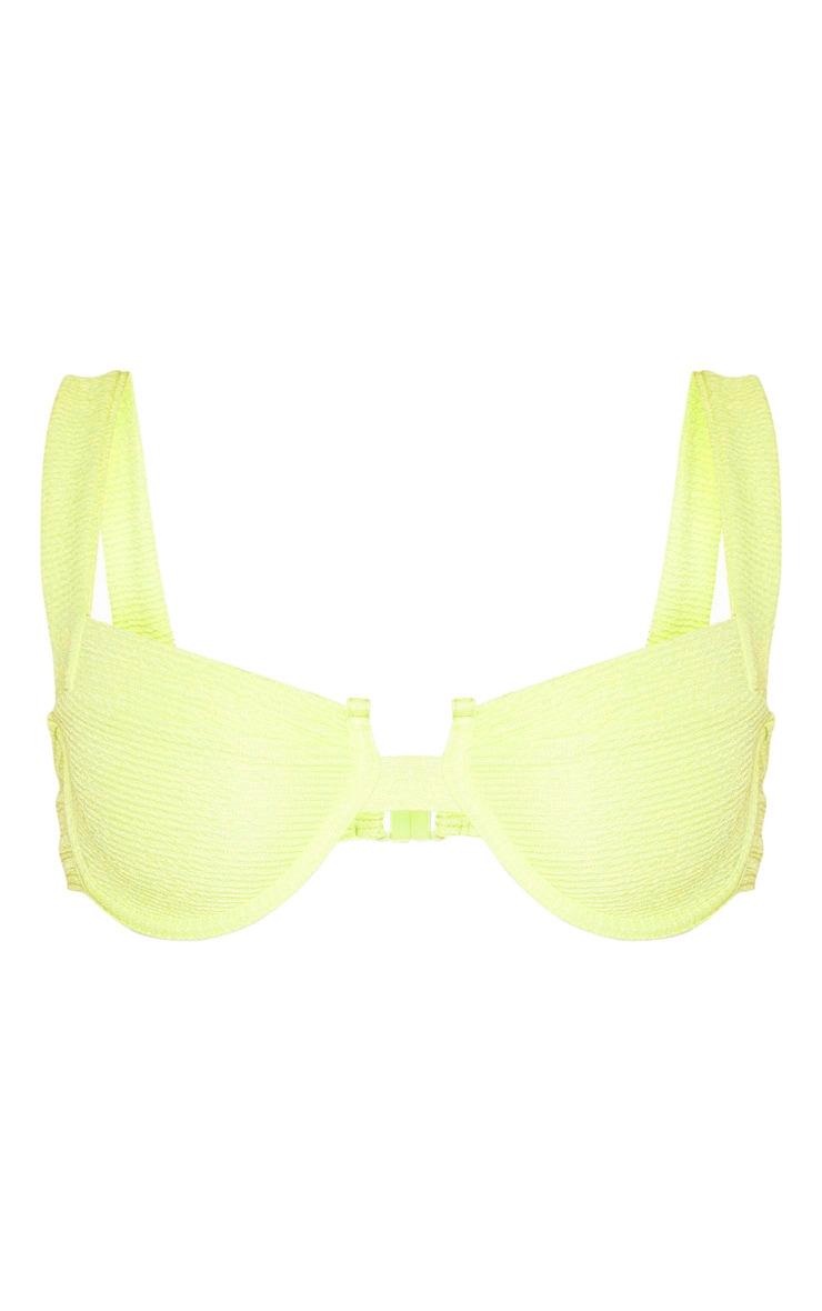 Haut de maillot de bain crêpé vert citron clair à col carré et armatures 3