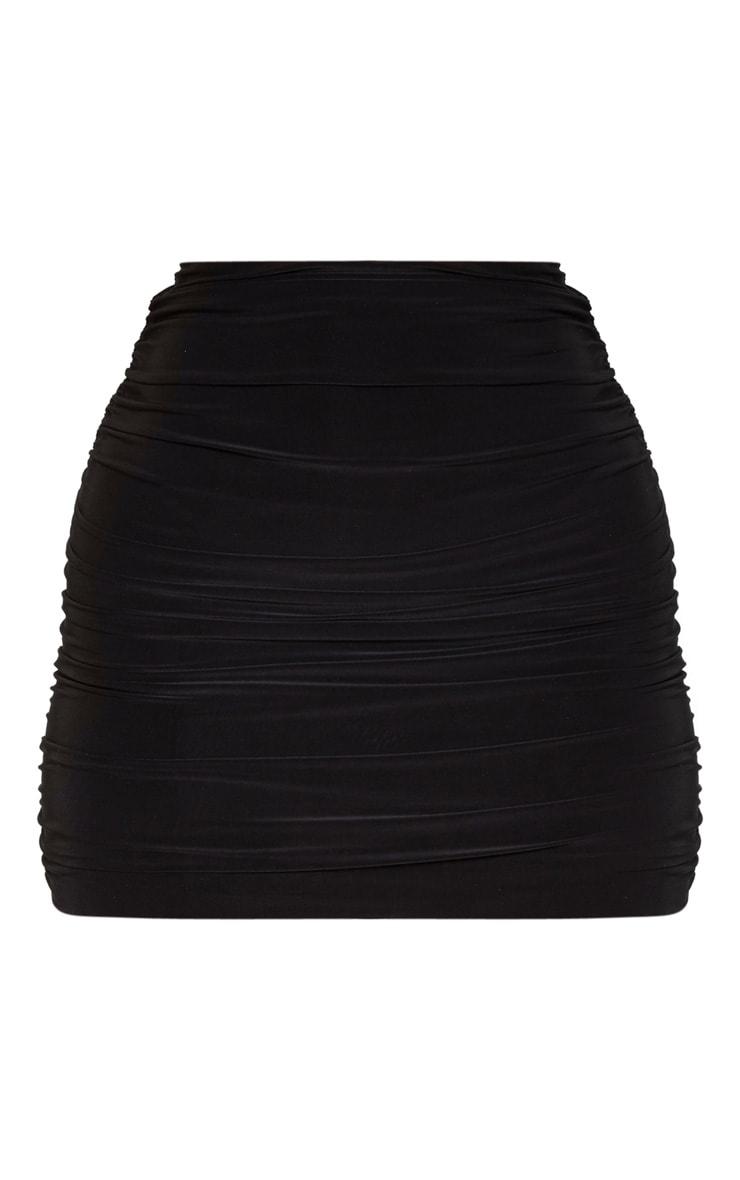 Black Slinky Ruched Side Mini Skirt 3