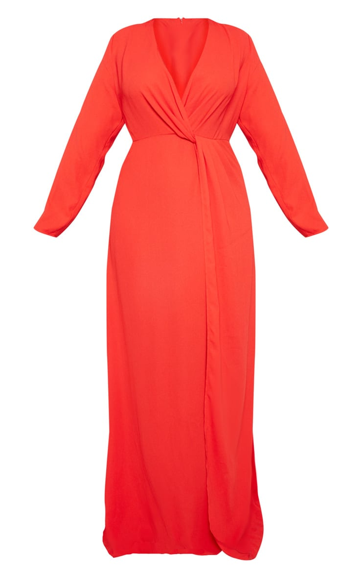 Plus Red Twist Front Maxi Dress 3