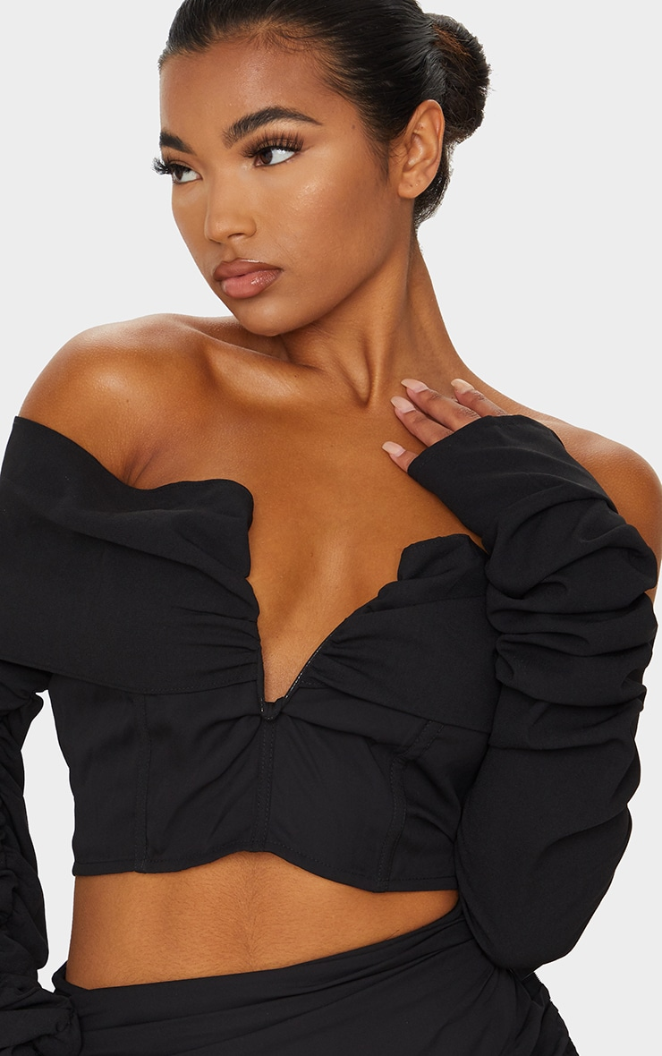 Black Woven V Bar Draped Front Ruched Sleeve Crop Top 4