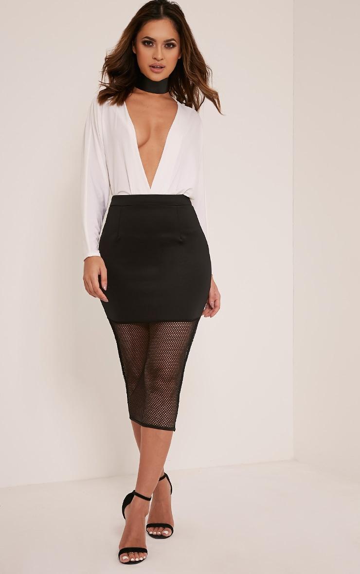 Lina Black Fishnet Hem Midi Skirt 1