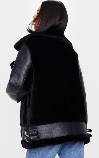 Black Oversized Faux Fur Panel Aviator