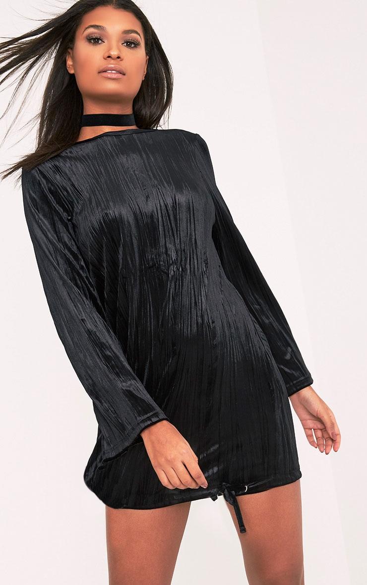 Ailsah Black Textured Velvet Bell Sleeve Shift Dress 5