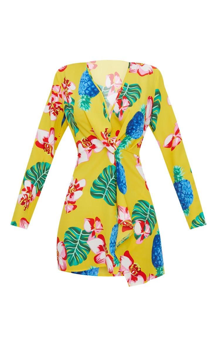 Yellow Tropical Long Sleeve Wrap Dress 3