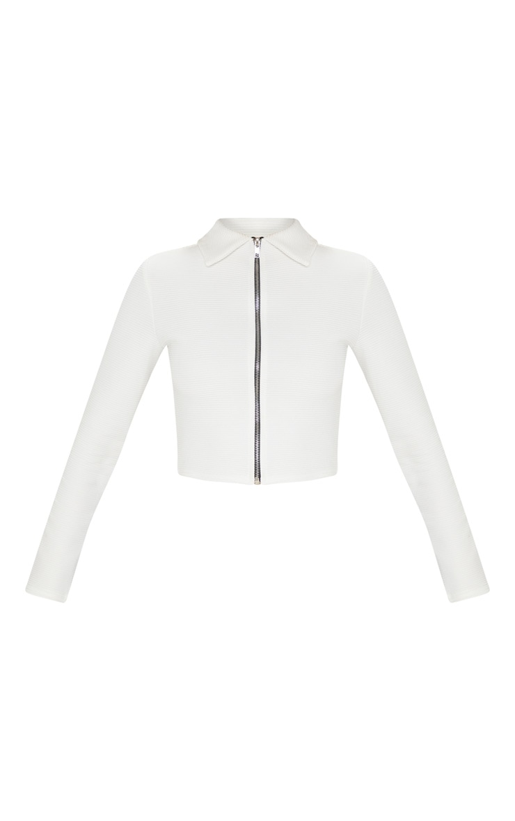 Cream Rib Zip Up Top 3