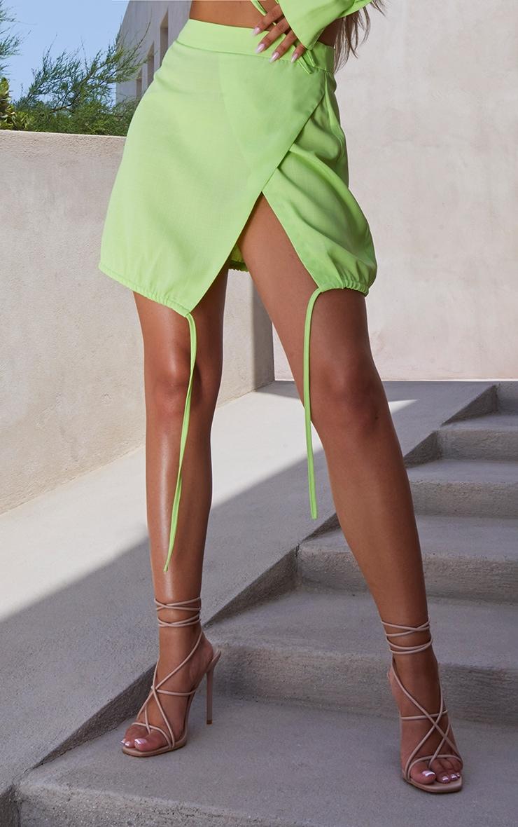 Lime Ruched Side Split Skirt 2