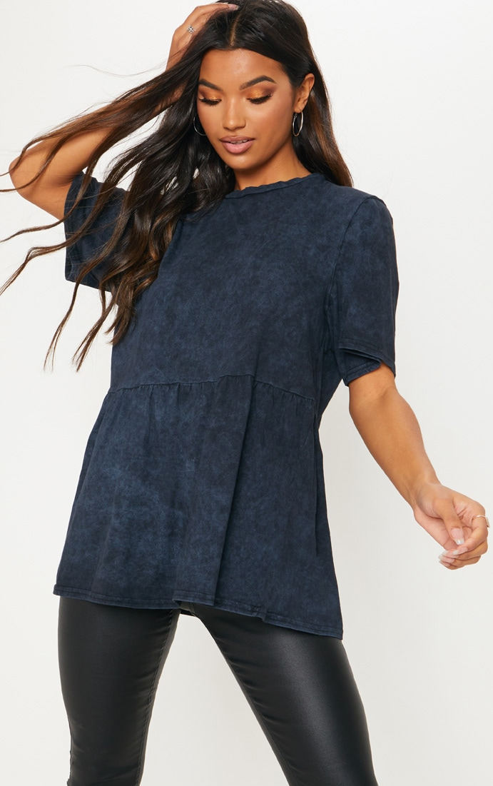 Navy Oversized Washed Peplum T Shirt