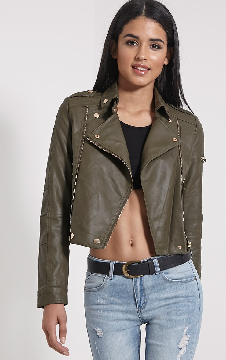 Blake Khaki Faux Leather Biker Jacket 1