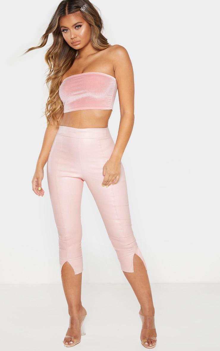 Dusty Pink Faux Leather Split Cropped Trouser 1