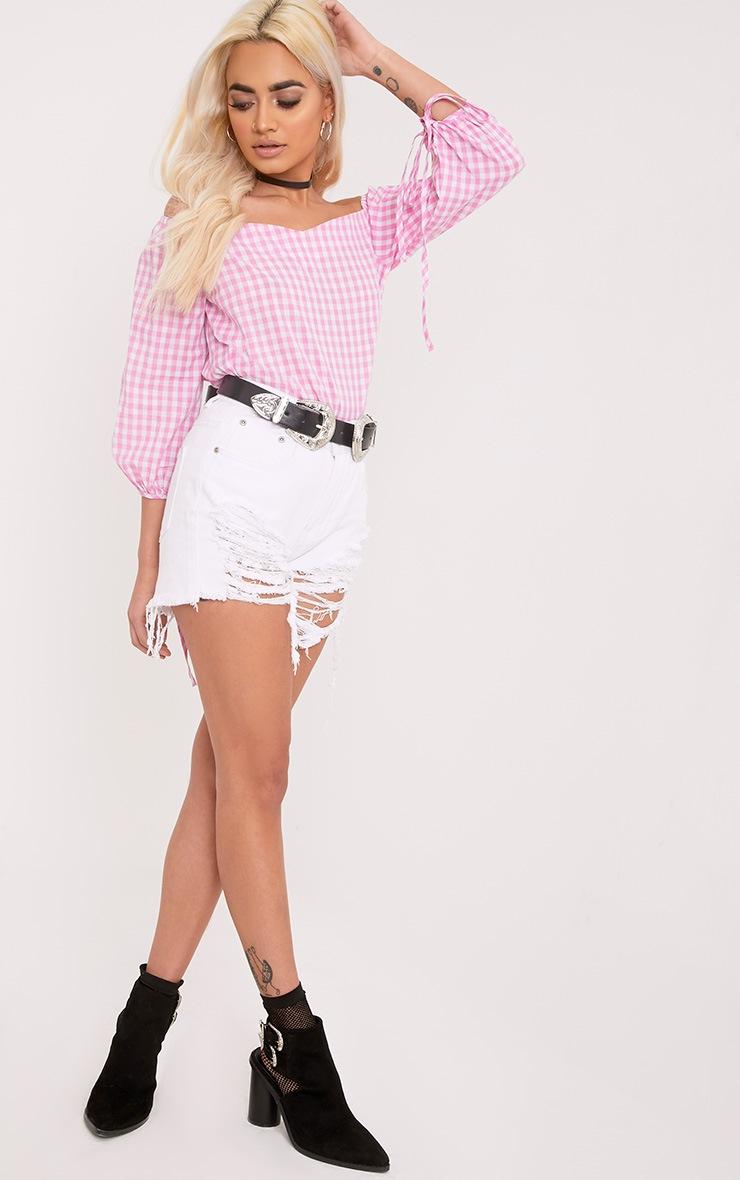 Connie Pink Gingham Check Bardot Shirt 4