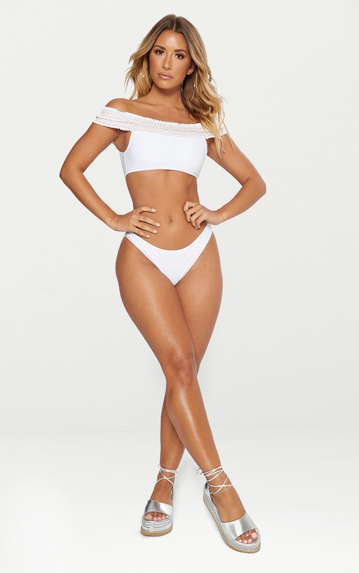 White Bardot Multi Shirred Bikini Set 3
