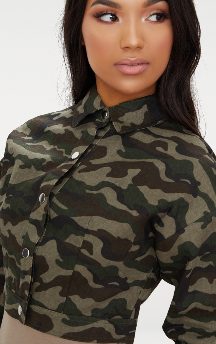 Green Cropped Camo Trucker Jacket 5