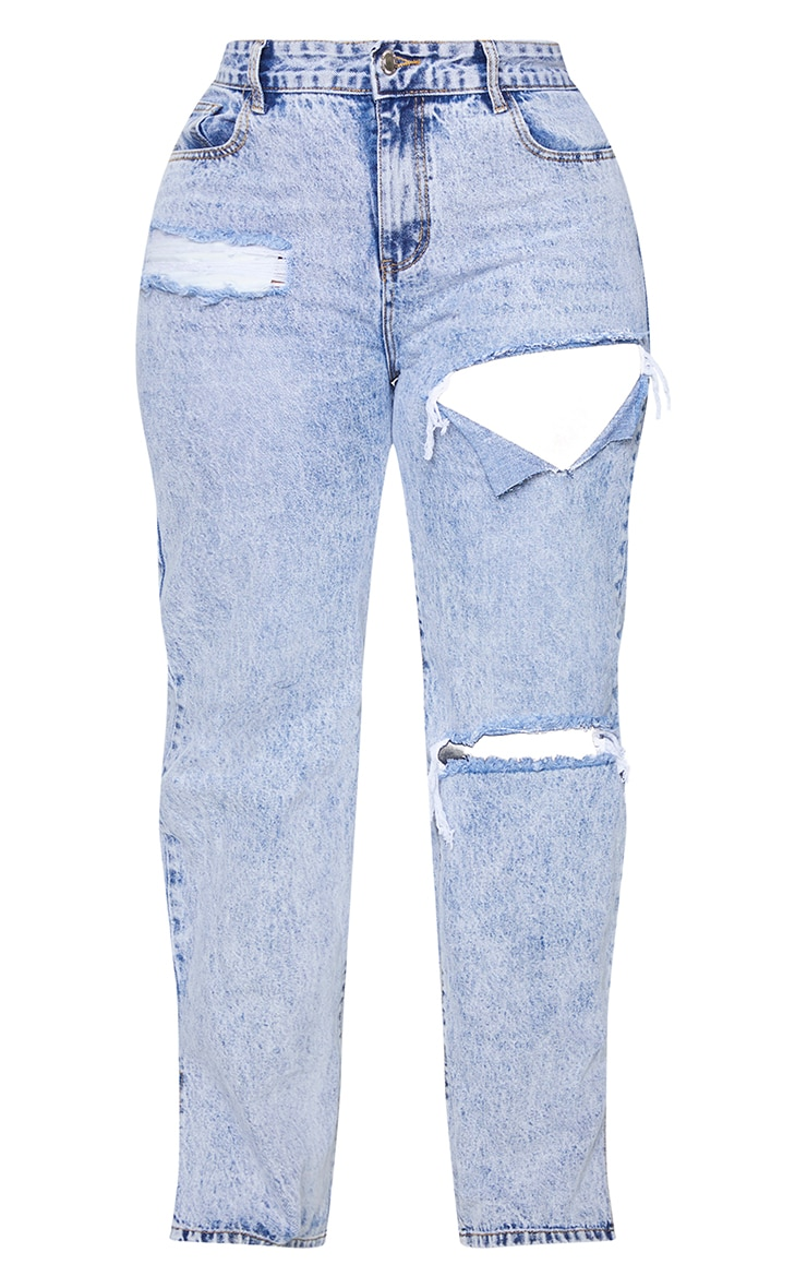 PLT Plus - Jean bleu glacier à ourlet fendu et déchirures 5