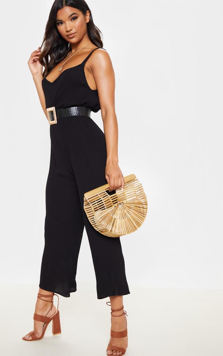 Black Woven Culotte Slouchy Jumpsuit 1