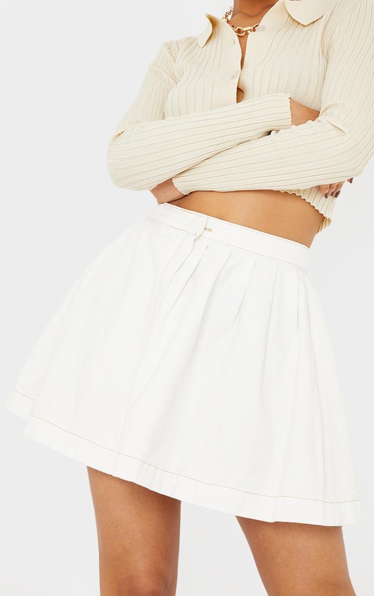 White Ecru Stitch Denim Tennis Skirt 5