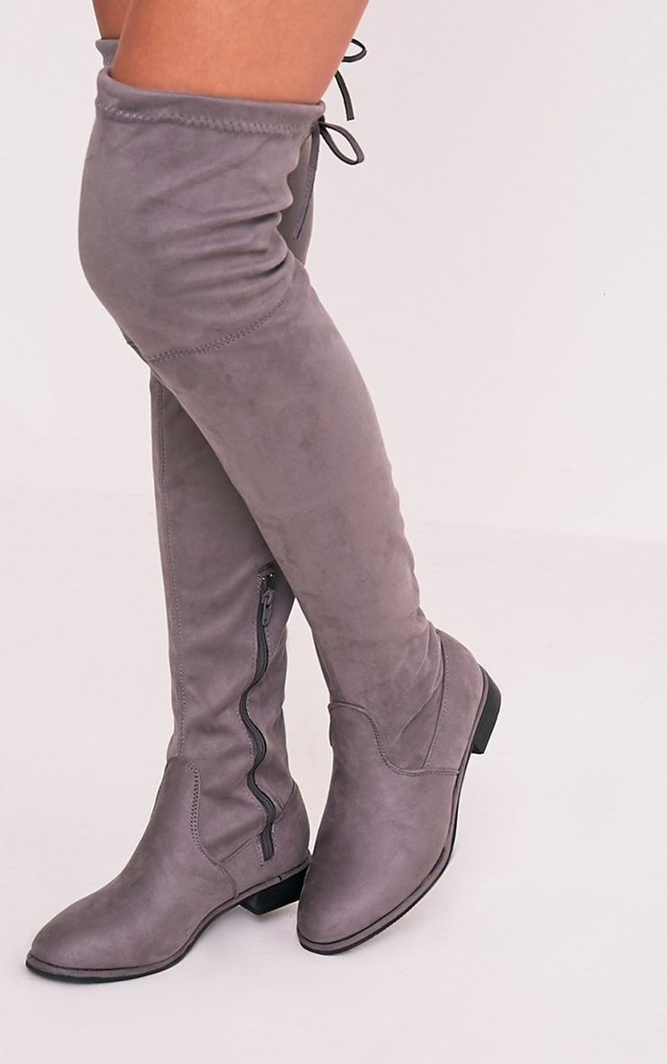 Hillary Grey Faux Suede Over The Knee Flat Boots 2