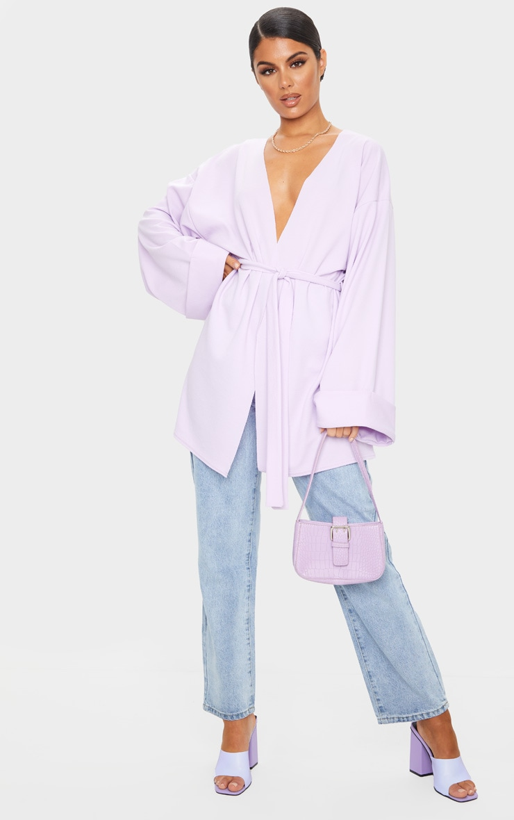 Lilac Belted Oversized Sleeve Blazer 1