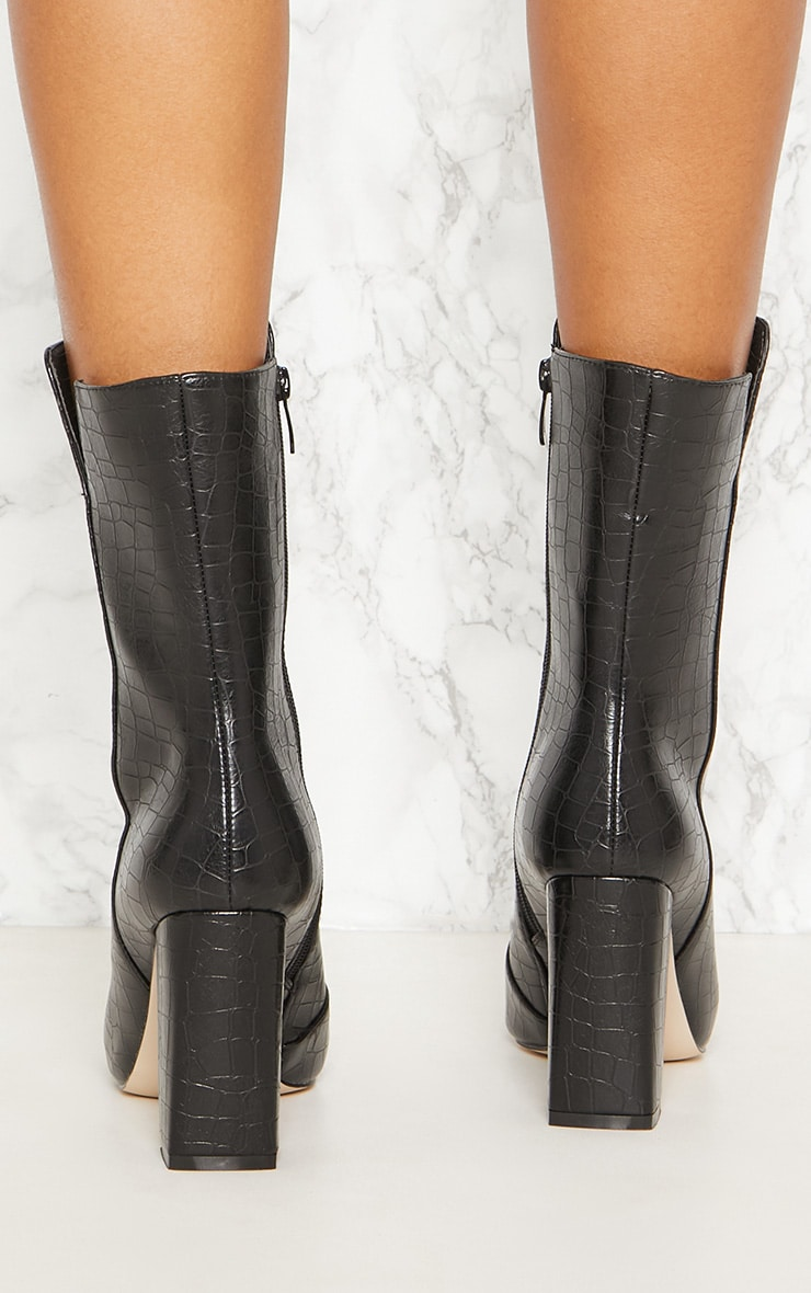 Black Faux Croc High Point Ankle Boot 3