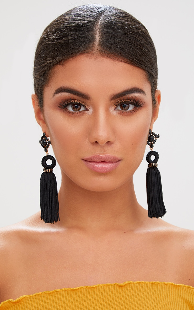 Black Jewelled Drop Tassel Earrings 1