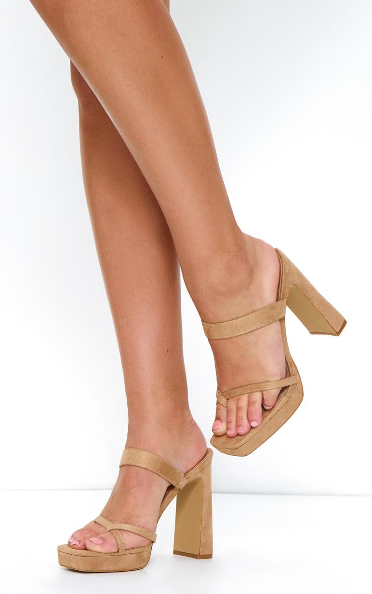 Nude Faux Suede Strappy Platform Heels 1