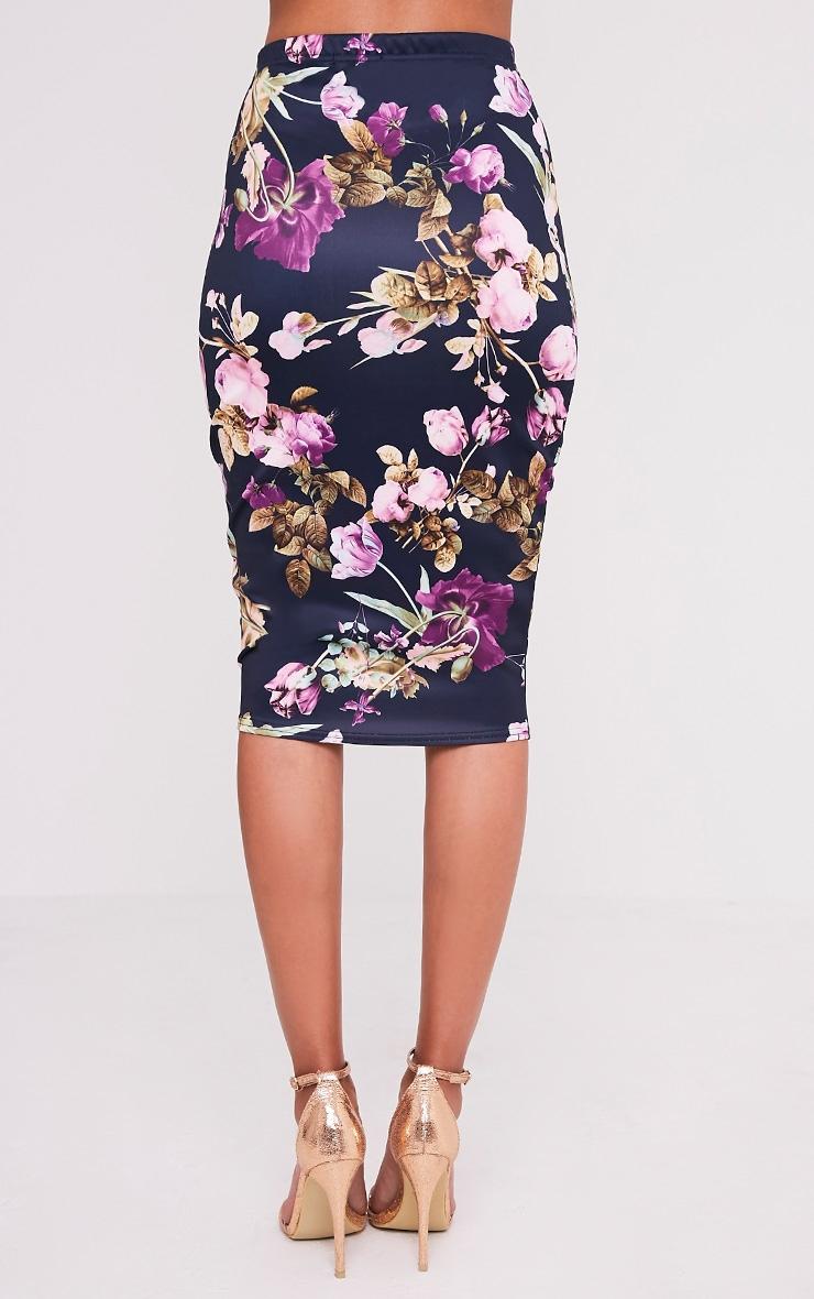 Francesca Plum Floral Print Midi Skirt 5