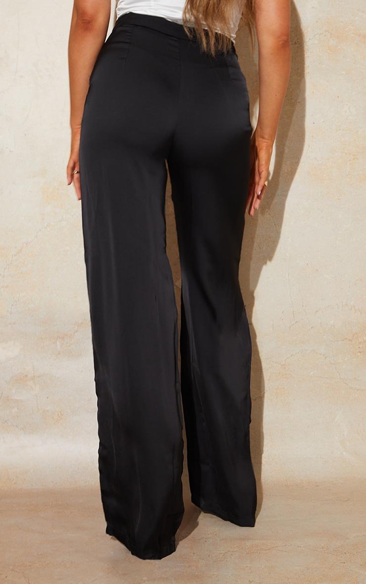 Black Satin Pintuck Pocket Detail Wide Leg Pants 3