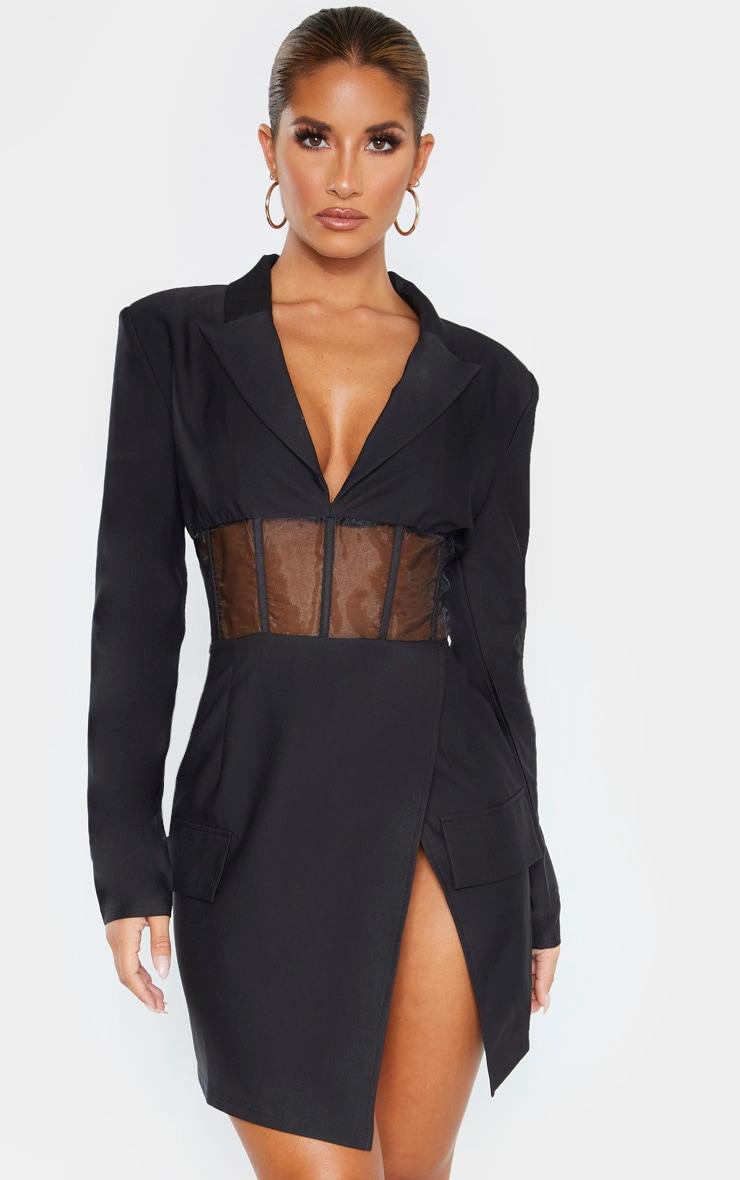 Black Mesh Insert Blazer Dress 1