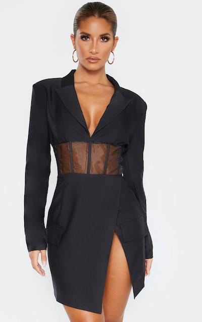 Black Mesh Insert Blazer Dress