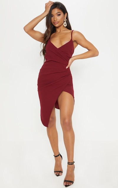 Lauriell Burgundy Wrap Front Crepe Midi Dress