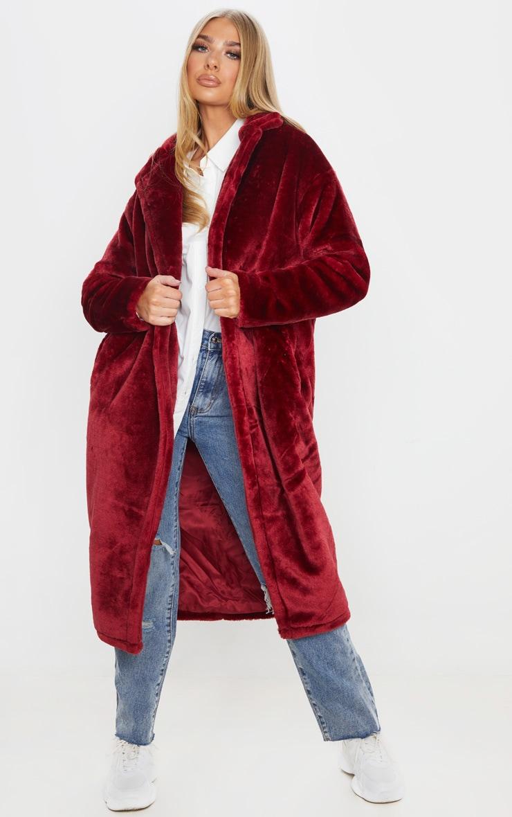 Burgundy Large Lapel Midaxi Faux Fur Coat 1