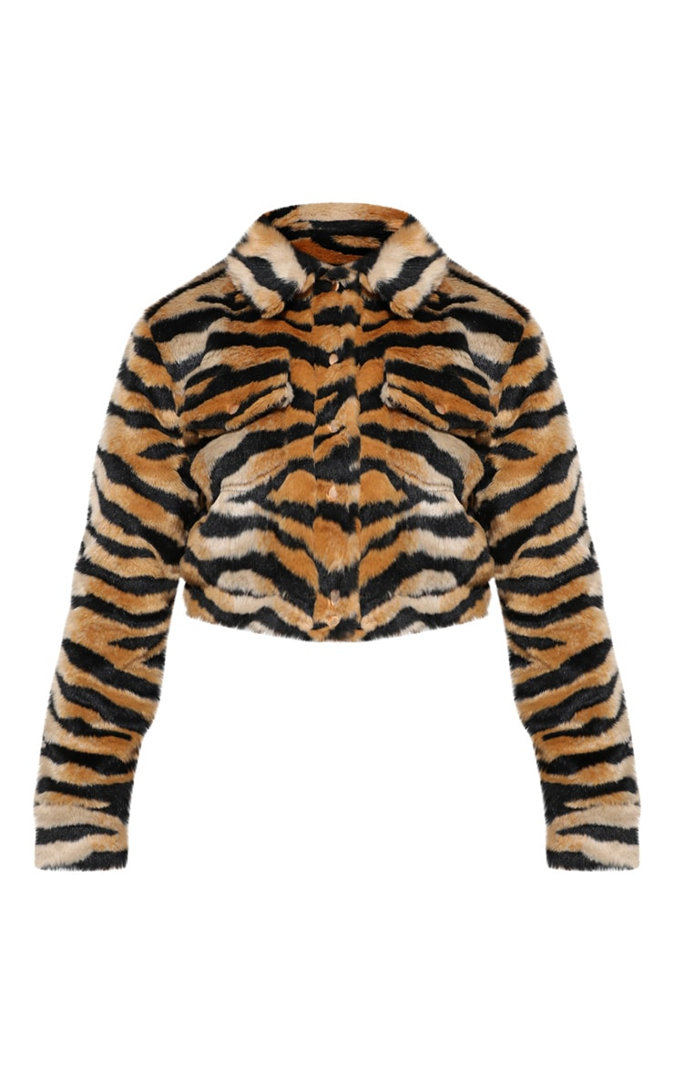 Tiger Print Faux Fur Crop Jacket 4