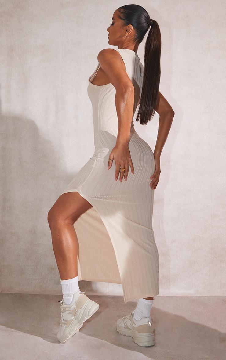 Recycled Beige Rib Split High Neck Midi Dress 2