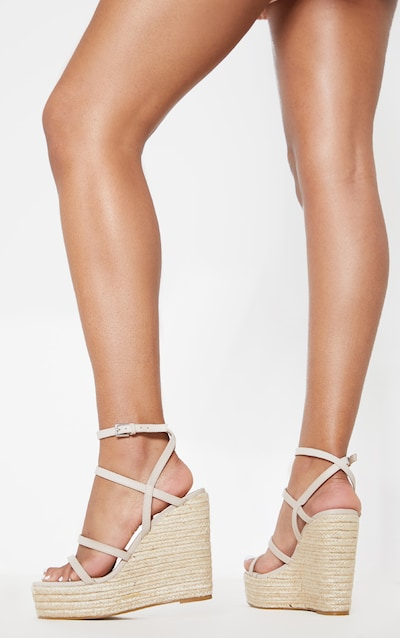 Nude Strappy High Wedge