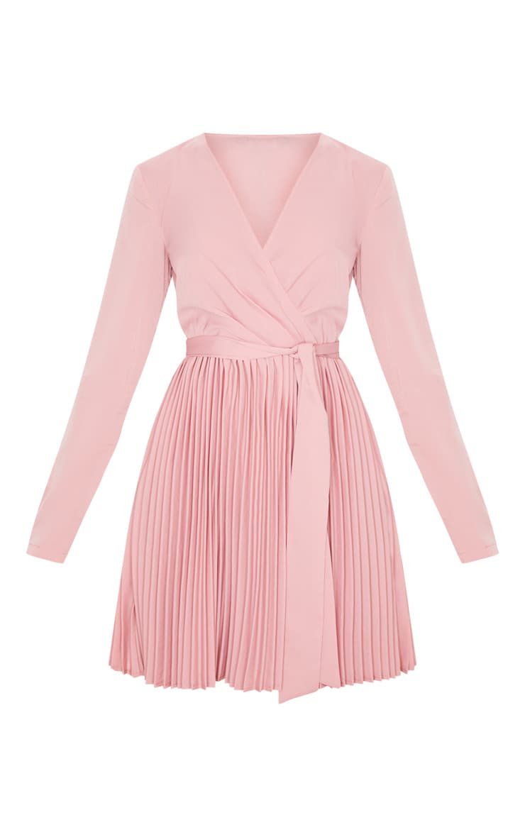 Dusty Pink Long Sleeve Pleated Skater Dress 3